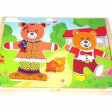 Развивающая деревянная игрушка Одевай-Ка Мишка С35646
