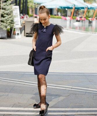 Школьный сарафан школьное платье для девочки школьная форма черная и темно-синего цвет