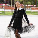 Школьный сарафан школьное платье для девочки школьная форма черный и темно-синий