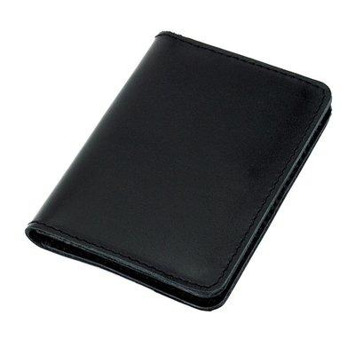 Обложка на ID паспорт, права кожаная Амелия 07 черная гладкая