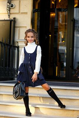 134 140 146 152 Школьный сарафан для девочки на бретельках школьная форма синий черный