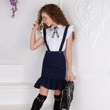 Детский школьный костюм белая блузка с бантом юбка чёрная синяя