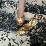 босоножки танкетка роскошные золото кожа питона Италия Nando Muzi