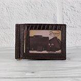 Зажим для купюр кожаный кофе карты Desisan 038-142 Турция
