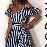 нереально красивое платье сарафан в полоску на запах