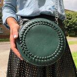 Стильная круглая зеленая сумочка