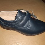 Кожаные синие туфли 27-32 р. Kangfu на мальчика, туфлі, шкіра, хлопчик, школу, выпуск, мокасины