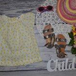 1 - 2 года 92 см H&M фирменная натуральная маечка блузка блуза рубашка для модниц лимоны