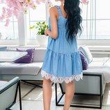 платье Ткань джинс-коттон кружево