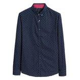 Мужская хлопковая рубашка с длинными рукавами, тёмно синяя, новая