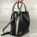Стильная сумка двойка чёрная