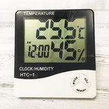 Цифровой, электронный термометр, часы, гигрометр, будильник, настольный, настенный HTC-1