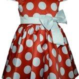 Детское платье Стиляги , красное в белый горох