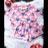 Яркая пижама сердечки, размеры s-m-l-xl