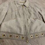 Стильный льняной пиджак куртка летняя на молнии от gizia размер М