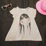 Легкая летняя футболка c оригинальньім принтом.Фирма H&М.