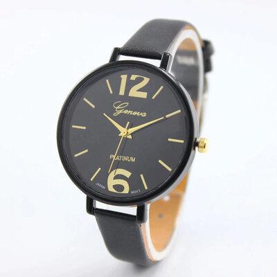 Часы наручные женские на тонком ремешке черные