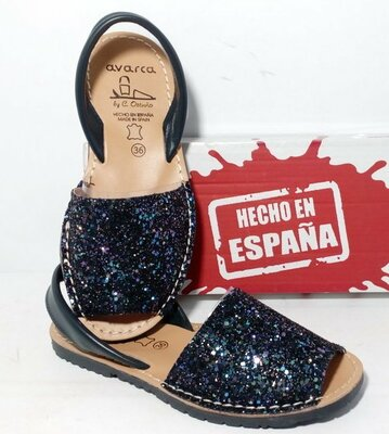 Синий глитер, Avarca, Кожаные менорки. абаркасы. ожаные босоножки, сандалии. Испания, Менорки