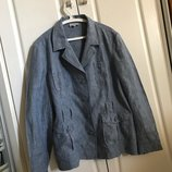 Р. XXL 44 EUR , Актуальный и стильный жен. льняной пиджак, жакет, принт голубая рогожка, 100% лен