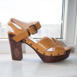 Шикарные кожаные горчичные босоножки pret a dancer на каблуке платформе натуральная кожа