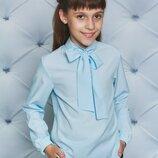 Блуза для девочки с бантом голубая 122-152