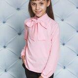 Блуза для девочки с бантом розовая122-152