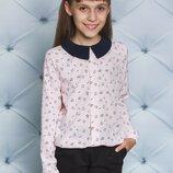 Блуза для девочки с воротничком персик 122-152