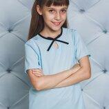 Блуза школьная короткий рукав голубой 122-152
