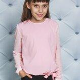 Блуза школьная с длинным рукавом персик 122-152