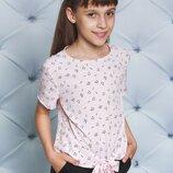 Блуза для девочки с завязкой Нотки персик 122-152