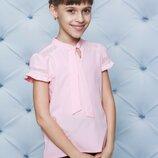 Блуза школьная с коротким рукавом персик 122-152