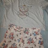 пижама скомбинированная трикотажная футболка с байковыми шортиками р26 большой размер