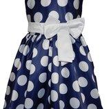 Детское платье Стиляги , синее в белый горох