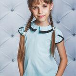 Блуза школьная короткий рукав голубая 122-152