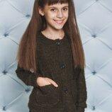 Кофта на пуговицах для девочки хаки 128-152