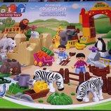 мКонструктор для малышей JDLT 5096 аналог Lego Duplo Зоопарк 115 крупных деталей