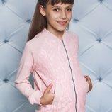 Кофта для девочки с кружевом персик 122-152