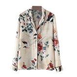 Блуза в пижамном стиле принт птицы цветы zara р. М - 28
