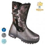 Зимние сапоги низкие Том М 5123Е темное серебро 33-38