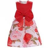 Красное цветочное платье для девочки
