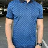 Мужская футболка поло Gucci Polo with Interlocking G print Blue голубая