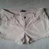 H&m белые короткие джинсовые шорты с кружевом 48-50р