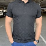 Мужская футболка поло Louis Vuitton Classic Polo Monogram Black черная