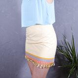 Желтая юбка на запах, летняя юбка короткая