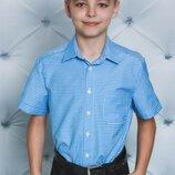 Рубашка для мальчика голубая клетка 122-152