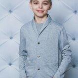 Жакет трикотажный для мальчика светло-серый 122-152