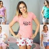 Трикотажная женская пижама футболка и шорты, р.XS-4XL