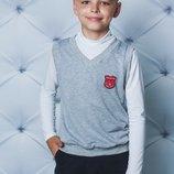 Жилет школьный для мальчика св-серый 122-152