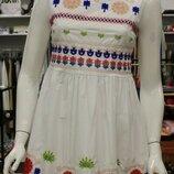 Платье белое вышивка р.М