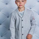 Толстовка с начесом для мальчика светло серая 122-152